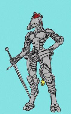 war giraffe in armour equppied