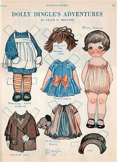 Vintage Dolly Dingle paper doll with Raggedy Ann outfit and wig Paper Art, Paper Crafts, Foam Crafts, Art Postal, Paper Dolls Printable, Printable Vintage, Raggedy Ann And Andy, Dress Up Dolls, Kewpie