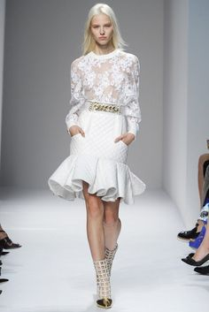 Balmain RTW Spring 2014 // Learn how to hand render lace: http://www.universityoffashion.com/lessons/rendering-lace/ White dress