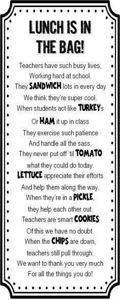 Strong Armor: Teacher Appreciation - Sandwich Poem