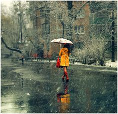 yellow raincoat, red boots. perfect.