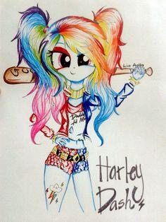 MLP - Harley Dash - Oh my gosh Oh my gosh Oh my gosh! Dessin My Little Pony, My Little Pony Drawing, Mlp My Little Pony, My Little Pony Friendship, Joker And Harley, Harley Quinn, Kawaii 365, Raimbow Dash, Nightmare Night