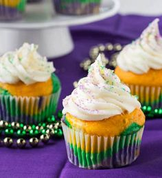 Mardi Gras cupcakes (just add food coloring to favorite cupcake recipe!)