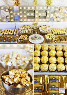 How to Set Up a Gold Candy Table + Shopping List! Candybar<br> Check out this step-by-step post on How to Set Up a Holiday Gold Candy Table along with my girlfriend tips and shopping list! Golden Birthday Parties, Birthday Party Tables, 50th Party, 70th Birthday, Gatsby Party, Table Party, Golden Birthday Themes, 60 Birthday Party Ideas, Hollywood Birthday Parties