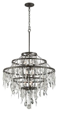 Troy Bistro Graphite Six Light Medium Chandelier with Crystal Glass Chandelier Lighting, Chandelier Chain, Brushed Nickel Chandelier, Transitional Chandeliers, Bistro Lights, Troy Lighting, Lighting Ideas, Large Chandeliers, Gold