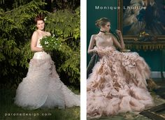 On the left is a #ParoneDesign #WeddingGown. Design and made by #Janne_Caro. On the right is a photo from #HarpersBazaar #magazine of the #MoniqueLhuillies #couture #dress.   #FlowerCouture #personalweddingdress #measure #CustomMadeWeddingDress #FlowerCouture #personalweddingdress #measure #CustomMade #unique #FinnishDesign #Helsinki #Finland
