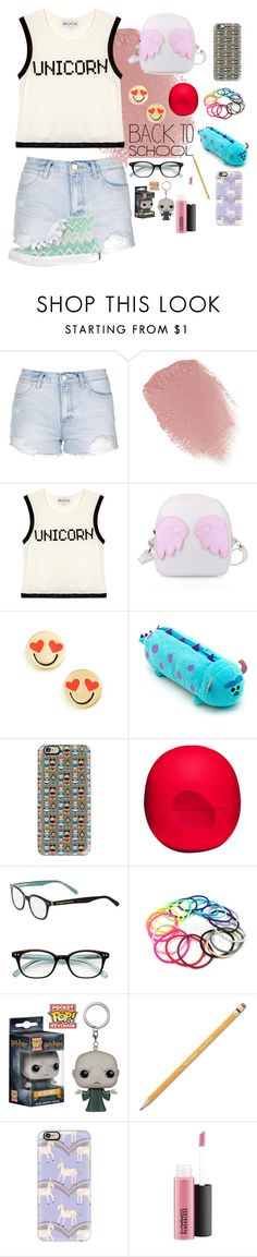 """""""Daily Outfit #5/ back to school Outfit"""" by treelights29 ❤ liked on Polyvore featuring Topshop, Lipstick Queen, Wildfox, Kate Spade, Casetify, Eos, Paper Mate, MAC Cosmetics and Converse"""