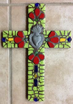 Large Sacred Heart mosaic cross by New Mexico artist Susanne Baca