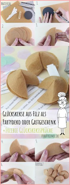 DIY fortune cookies made of felt – Party decoration itself make e. as New Year's Eve decoration. Also suitable as a DIY gift. Crafting with felt simply explained! Discover New Year's Eve DIY with Sayings Freebie now by fraufriemel New Year Diy, New Year Gifts, Diy Gifts For Him, Cool Gifts, Best Wedding Gifts, Diy Wedding, Felt Diy, Felt Crafts, Diy Gifts Paper