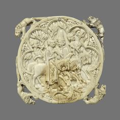 Mirror Back with Falconing Party, 1350–1375  French; Possibly made in Paris  Elephant ivory