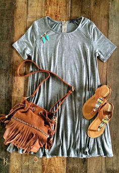 Such a cute outfit. Love the grey t-shirt dress with the fringe purse!