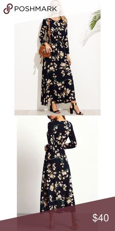 Navy Long Sleeve Floral Maxi Dress Bought this dress not too long ago and selling because it did not fit. It was too tight in my bust area (38DD). Fit nicely everywhere else though! Never worn, only tried on! Dresses Maxi