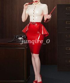 100% New Latex Rubber Gummi Women Fashion Sexy Blouse And Skirt Suit Size XS-XXL #Unbranded #PantSuit