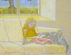Woman reading at a castle in Ireland Little girl looking at a book Children reading at the window Diana Paradise living i. Woman Reading, Kids Reading, Diana, Castles In Ireland, Love Art, Art History, Little Girls, Paradise, Books