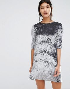 Mango | Mango Crushed Velvet Shift Dress at ASOS