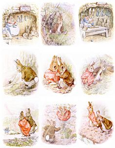 20 images from The Tale of Benjamin Bunny by Beatrix Potter, digital collage sheets for paper crafts, --  no. 228