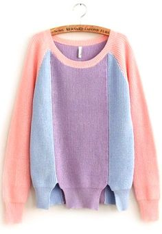 Price:$23.99 Color: As Picture Material: Cotton/Acrylic Street-Chic Style Vertical Mixing Color Knit Sweater