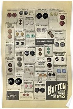 Coraline buttons promo poster, off the Coraline website. Want a Coraline halfsleeve on my right arm. Coraline Jones, Coraline Movie, Coraline Art, Coraline Tattoo, Neil Gaiman, Stop Motion, Coraline Aesthetic, Kubo And The Two Strings, Things Organized Neatly