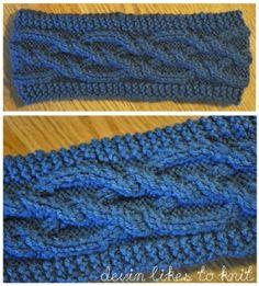 Intertwining diamonds cabled headband/earwarmer knitting pattern
