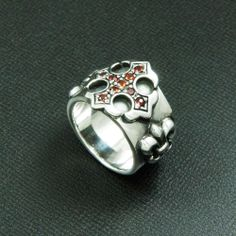 DARK RED Cz CROSS FLUER DE LIS STERLING SILVER US Size 8 BIKER RING ec-r033 #Handmade