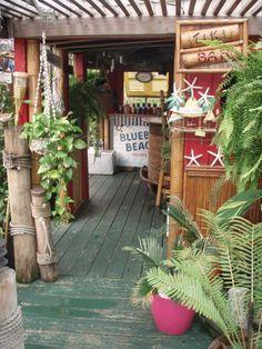 TD's back yard — Tiki Central - All For Garden Tropical Backyard, Backyard Paradise, Tropical Decor, Outdoor Beach Decor, Tiki Decor, Backyard Projects, Outdoor Projects, Tahiti, Bbq Shed