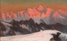 Toussaint Gabriel Loppe - Levé du soleil sur le Mont Blanc depuis le Buet - Huile sur carton, 13.4 x 21.5 cm - Collection particulière artismirabilis.com