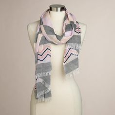Gray & Pink Stripe Embroidered Scarf $24.99