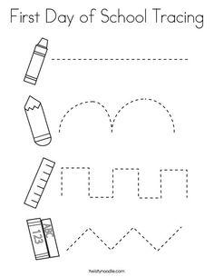 First Day of School Tracing Coloring Page - Twisty Noodle Preschool First Day, First Day Of School Activities, Preschool Writing, Kindergarten Learning, Preschool Learning Activities, Preschool Printables, Preschool Classroom, Preschool Worksheets, Daycare Curriculum