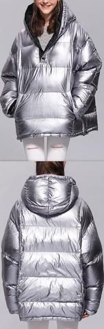 Silver Puffer Down Hooded Jacket
