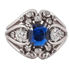 Chaumet Sapphire Diamond Platinum Dress Ring For Sale