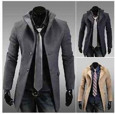Fall and winter clothes new Korean men's woolen coat single breasted coat Buy It Now $44.98