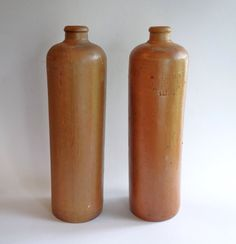 Antique Clay Gin Bottle Pair Erven Lucas Bols Het by BeeHavenHome
