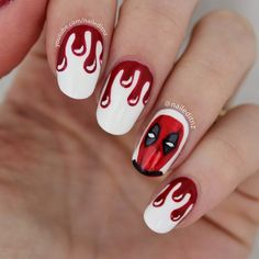 Deadpool nails! Haha! | Nails | Marvel nails, Nails, Nail Art