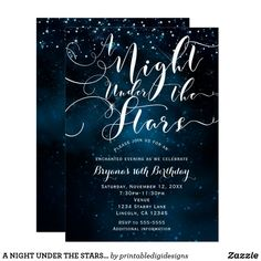 A NIGHT UNDER THE STARS Starry Blue Skies Card A NIGHT UNDER THE STARS Starry Blue Skies Invitation. Customize both sides any way you want, for any event. Custom birthday party invitations / invites #invitations #invites #birthdayparty #sweetsixteen #sweet16
