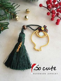 Lucky Charm, Amelie, Evil Eye, Xmas, Christmas, Christening, Tassel Necklace, Handmade Jewelry, Charmed