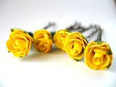 Yellow Wedding Pins Roses on Brunette Hair Grips Ballet and Bridal Wear Bun Accessories Plat Hair Decorations Set of Six Bobby Pins