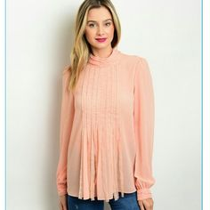 Just peachy blouse. Just peachy blouse. Pair this elegant, yet edgy blouse with your favorite jean shorts and wedges/sandals for a casual look, or dress it up with dress pants or a skirt for a dressy look. Tops Blouses
