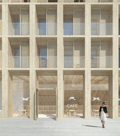 Tham & Videgård Propose Wooden High-Rise Housing for Stockholm,Front Detail. Image © Tham & Videgård Arkitekter