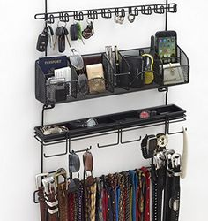 Men's Over the Door/Wall Belt Tie Valet Organizer - beautiful BLACK powder coat- see our #9100 5 star reviews! High quality men's organizer by Longstem - Patented - Rated Best!