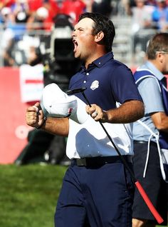 Patrick Reed Photos - Patrick Reed of the United States celebrates on the green after winning his match during singles matches of the 2016 Ryder Cup at Hazeltine National Golf Club on October 2016 in Chaska, Minnesota. Ryder Cup, La Jolla, Chaska Minnesota, Golf Clubs, Interview, United States, October 2, Celebrities, 18th