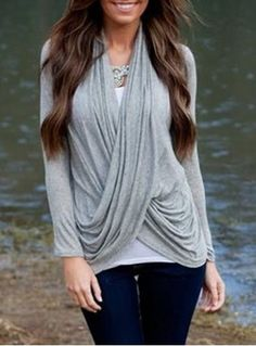 Stylish V-Neck Solid Color Criss-Cross Long Sleeve Knitwear For Women