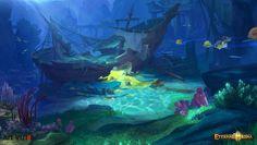 ArtStation - 海底登陆界面, Lin —Art vision studio Fantasy Art Landscapes, Fantasy Landscape, Landscape Art, Nautilus, Bg Design, Underwater City, Under The Ocean, Background Drawing, Visual Development
