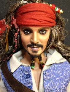 About Jack Sparrow: This is a OOAK face repaint I did on a Tonner Pirates of the Carribean Jack Sparrow. (Flutterwing Dolls by Shannon Craven www.flutterwing.com)