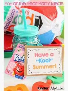 Kinder Alphabet: End of the Year Party Ideas 2 School Parties, School Gifts, Student Gifts, Teacher Gifts, School Stuff, End Of Year Party, End Of School Year, Summer School, Pre K Graduation