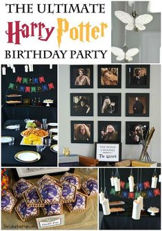 The Ultimate Harry Potter Birthday Party Ideas - Free printables, decorations, food ideas, party favors, activities, games, party supplies, flying keys, chocolate frogs, floating candles, DIY wands, potions class, herbology class, charms class, divinations class and more.