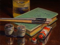 Wang Fine Art: still life with paint tube and brushes,  a paintin...