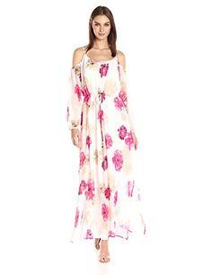 Calvin Klein Women's Printed Off the Shoulder Maxi Dress-$119.50