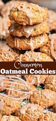 Cinnamon Oatmeal Cookies are soft chewy and delicious This oatmeal cookie recipe is made with old fashioned oats and flavored with cinnamon and cinnamon glaze on top cookies oatmealcookie oat glazed cinnamon dessert Chocolate Chip Shortbread Cookies, Toffee Cookies, Oat Cookies, Spice Cookies, Cookies Et Biscuits, Yummy Cookies, Cookies With Oats, Chewy Oatmeal Cookies, Old Fashioned Oatmeal Cookies
