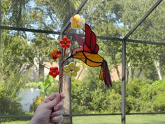 Stained Glass Suncatcher 3D Hummingbird and Fused Glass Flowers Custom Order from UniqueNique. Saved to My Creations .