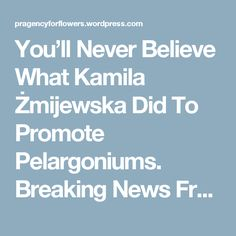 You'll Never Believe What Kamila Żmijewska Did To Promote Pelargoniums. Breaking News From PR Agency For Flowers. | PR Agency For Flowers, Flower Bulbs & Pot Plants Markets in Poland